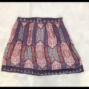EUC XL Lucky purple orange Aztec skirt pockets